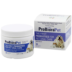 ProbioraPet Probiotics specially formulated to freshen breath and clean teeth.