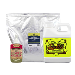 These kits include Food Grade DE, Flea Free Food Supplement, and a bottle of Hikers' Friend Insect Spray
