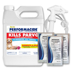 Performacide hard surface disinfectant kills parvo virus and many other viruses, bacteria, molds, mildew and fungi