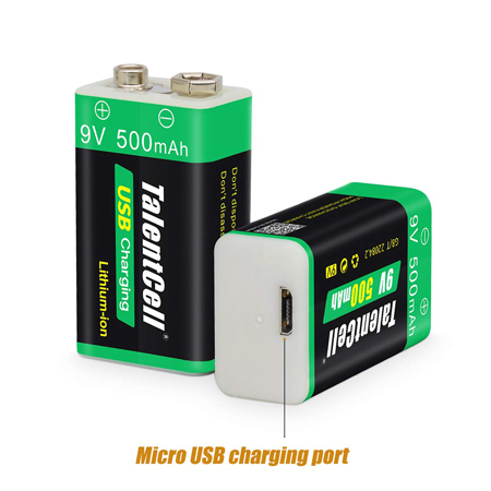 9-Volt Micro USB rechargeable battery